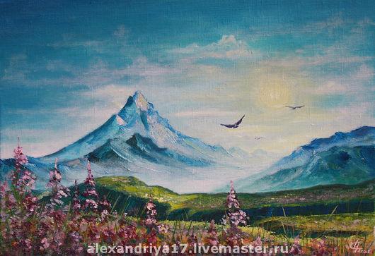 Пейзаж ручной работы. Ярмарка Мастеров - ручная работа. Купить Картина «Горы». Handmade. Горы, голубой, цветы, птицы, небо