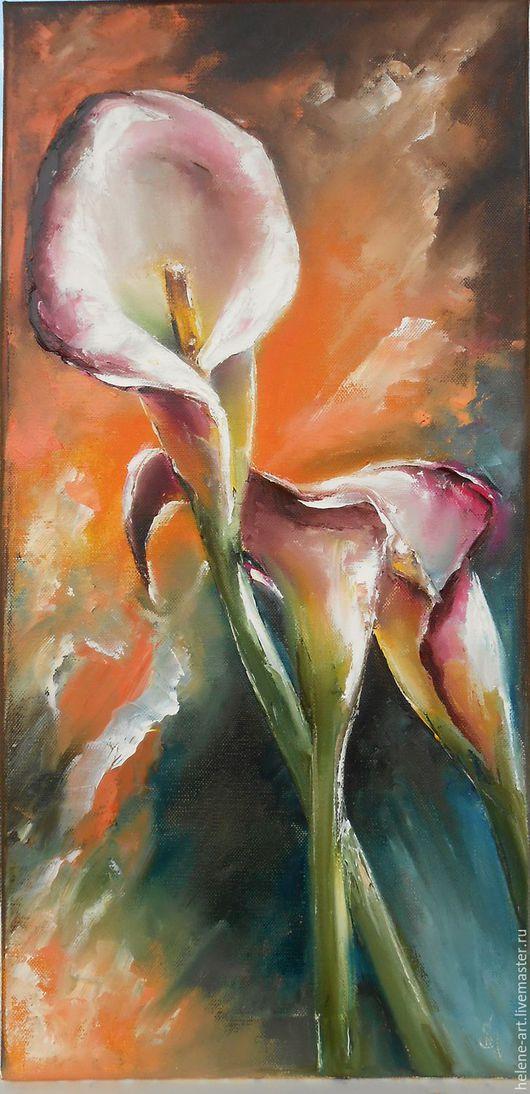 """Картины цветов ручной работы. Ярмарка Мастеров - ручная работа. Купить Картина маслом """" Изящные каллы"""" 30х60 (цветы, подарок на 8 марта). Handmade."""