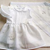 Работы для детей, handmade. Livemaster - original item Christening set for a girl