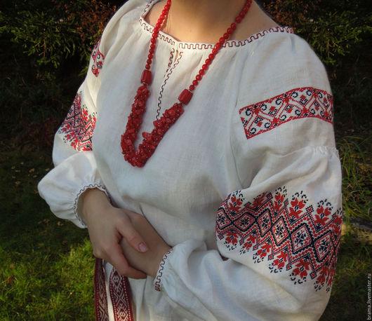Одежда ручной работы. Ярмарка Мастеров - ручная работа. Купить Русское платье льняное белое с ручной вышивкой. Handmade. Белый