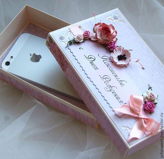 """Подарочная упаковка ручной работы. Ярмарка Мастеров - ручная работа. Купить Подарочная коробочка """"Зефирная"""". Handmade. Бледно-розовый, для телефона"""