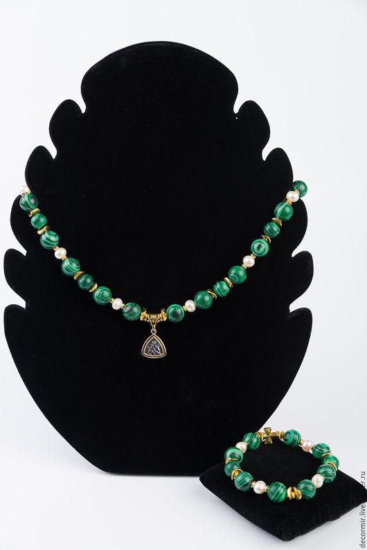 Колье, бусы ручной работы. Ярмарка Мастеров - ручная работа. Купить Колье и браслет из Малахита. Handmade. Зеленый, богородица