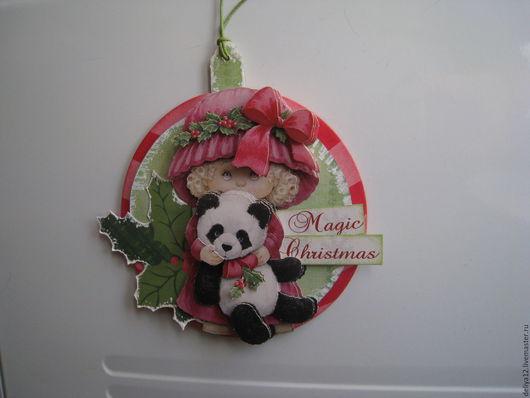 Магниты ручной работы. Ярмарка Мастеров - ручная работа. Купить Магнит для рождественского подарка. Handmade. Комбинированный, рождественский подарок