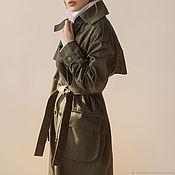 Одежда handmade. Livemaster - original item Women`s trench coat with camouflage trim. Handmade.