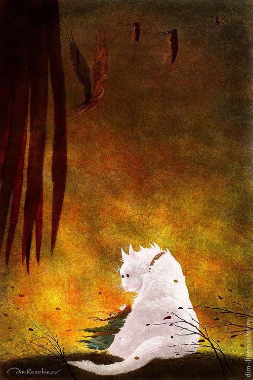 Фантазийные сюжеты ручной работы. Ярмарка Мастеров - ручная работа. Купить Девочка и Белая кошка. (бес них)  авторский принт. Handmade.