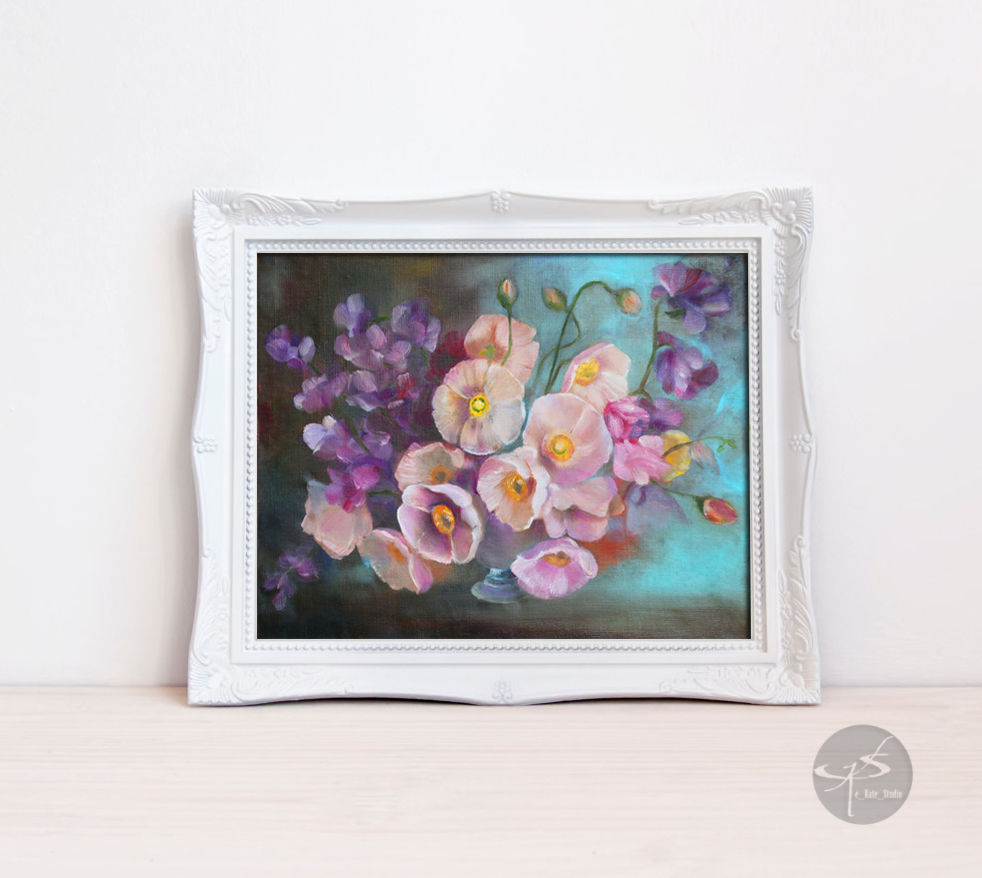 The painting bouquet of pink flowers on turquoise background flower paintings handmade livemaster handmade buy the painting bouquet of pink flowers mightylinksfo