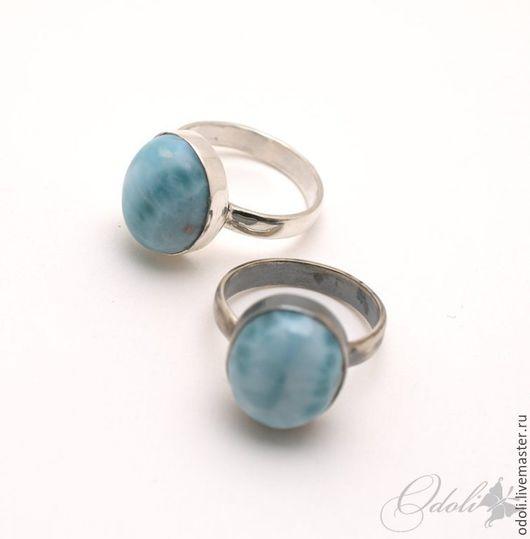 Кольца ручной работы. Ярмарка Мастеров - ручная работа. Купить Серебряное кольцо с ларимаром любой размер на заказ. Handmade.