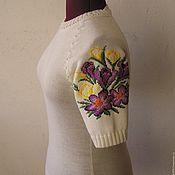 Одежда ручной работы. Ярмарка Мастеров - ручная работа Джемпер с вышивкой. Крокусы.. Handmade.