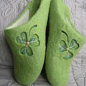"""Обувь ручной работы. Ярмарка Мастеров - ручная работа Валяные тапочки """"Клевер"""". Handmade."""