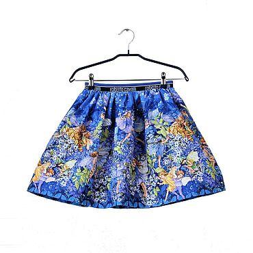 Работы для детей, ручной работы. Ярмарка Мастеров - ручная работа Синяя нарядная  юбка для девочки с феями из американского хлопка. Handmade.