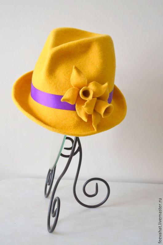 Шляпы ручной работы. Ярмарка Мастеров - ручная работа. Купить Нарциссы ярко- жёлтая шляпа из фетра. Handmade. Желтый
