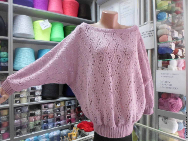 """Кофты и свитера ручной работы. Ярмарка Мастеров - ручная работа. Купить Пуловер ажурный с рукавом долман,""""Летучая мышь"""". Handmade."""