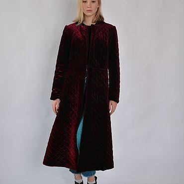 Одежда ручной работы. Ярмарка Мастеров - ручная работа Пуховое пальто бархатное Sangria. Handmade.