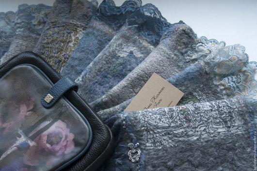 """Шарфы и шарфики ручной работы. Ярмарка Мастеров - ручная работа. Купить Валяный шарф """"Джинс"""". Handmade. Серый, валяный шарф"""