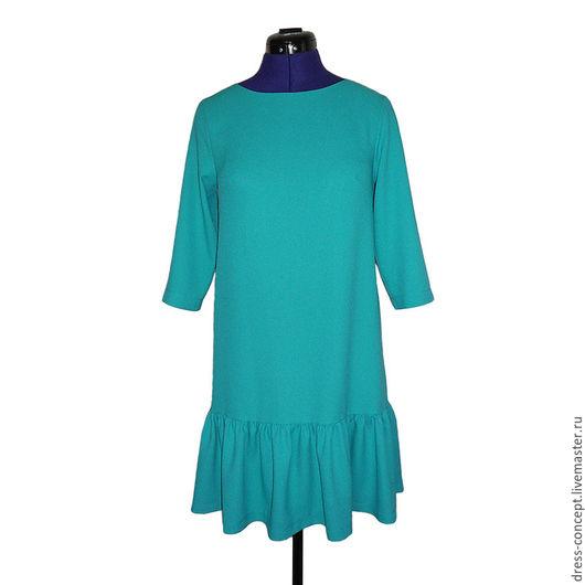 Платья ручной работы Платье бирюзовое платье с воланом платье повседневное платье на выход ручная работа платье однотонное платье летнее струящееся