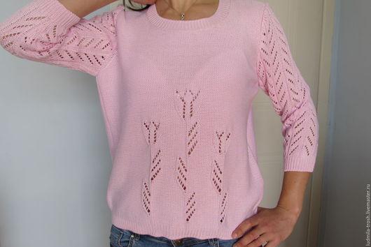 """Кофты и свитера ручной работы. Ярмарка Мастеров - ручная работа. Купить ажурный пуловер  """"Тюльпаны"""". Handmade. Розовый, ажурный узор"""