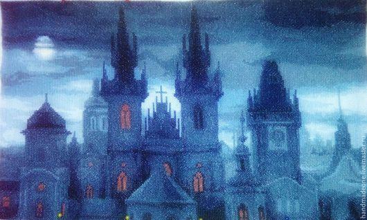 Город ручной работы. Ярмарка Мастеров - ручная работа. Купить Ночной город. Handmade. Вышивка крестом, комбинированный