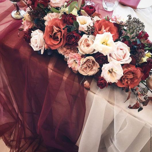 """Свадебные цветы ручной работы. Ярмарка Мастеров - ручная работа. Купить Сет """"Сочная марсала"""" - оформление свадьбы. Handmade. Бордовый"""