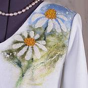 Одежда ручной работы. Ярмарка Мастеров - ручная работа Ромашки костюм трикотажный с валяным декором. Handmade.