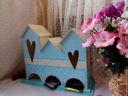 Кухня ручной работы. Ярмарка Мастеров - ручная работа. Купить Чайный домик «Тройной» - декупаж, чайная коробка для кухни для чая. Handmade.