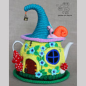 """Для дома и интерьера ручной работы. Ярмарка Мастеров - ручная работа Грелка на чайник """"Солнечный домик"""" (с чайником). Handmade."""