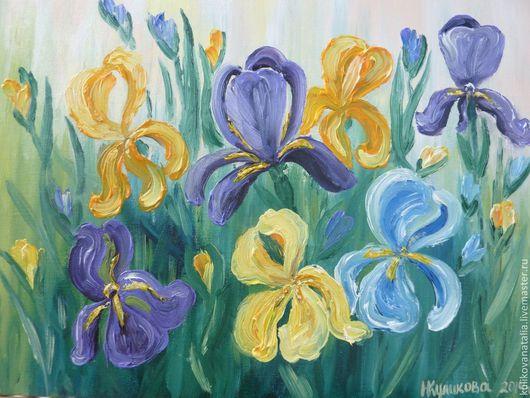 Цветочный пейзаж ручной работы. Картина написана на холсте маслом, оформлена в багет. Будет приятным подарком на любой случай. Так же украсит Ваш интерьер.