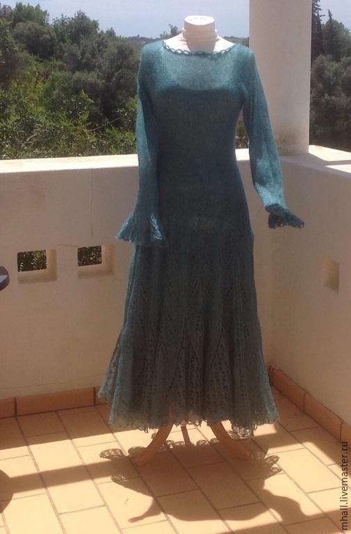 Платья ручной работы. Ярмарка Мастеров - ручная работа. Купить Ажурное платье Зеленый Шум. Handmade. Морская волна, кружева
