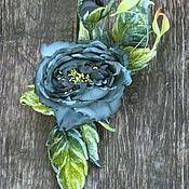 handmade. Livemaster - original item Grosgrain rose brooch silk