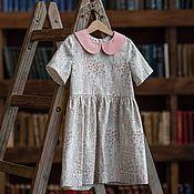 Одежда детская handmade. Livemaster - original item Floral linen dress with a collar. Handmade.