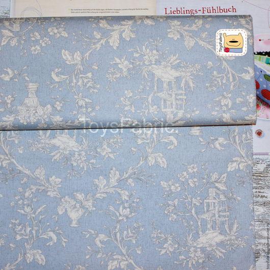 Шитье ручной работы. Ярмарка Мастеров - ручная работа. Купить Ткань хлопок Оксфорд Цветы на серо-голубом (34040). Handmade.