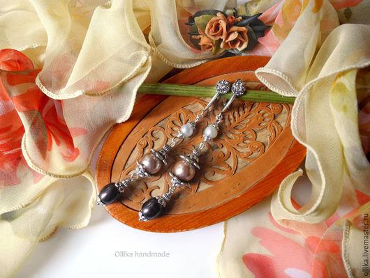 Серьги Эффектный Выход серьги с цветным жемчугом, подарок девушке женщине, жемчужные серьги, цветной жемчуг, комплект украшений купить, серьги с жемчугом, жемчужные сережки, цветные серьги, серьги же