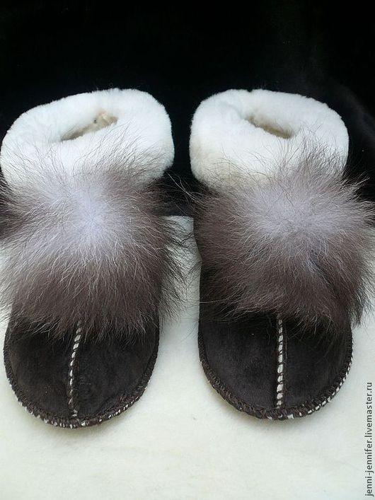 Обувь ручной работы. Ярмарка Мастеров - ручная работа. Купить домашняя натуральная обувь ШОКОЛАДНАЯ ОВЕЧКА. Handmade. Коричневый, овчина