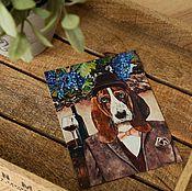 Открытки ручной работы. Ярмарка Мастеров - ручная работа Набор открыток с бассет хаундом. 4 штуки. Handmade.