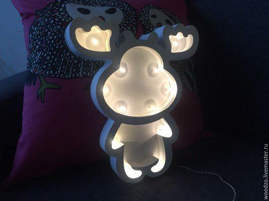"""Детская ручной работы. Ярмарка Мастеров - ручная работа. Купить Ночник """"Олень"""". Handmade. Белый, светильник из дерева, дерево"""