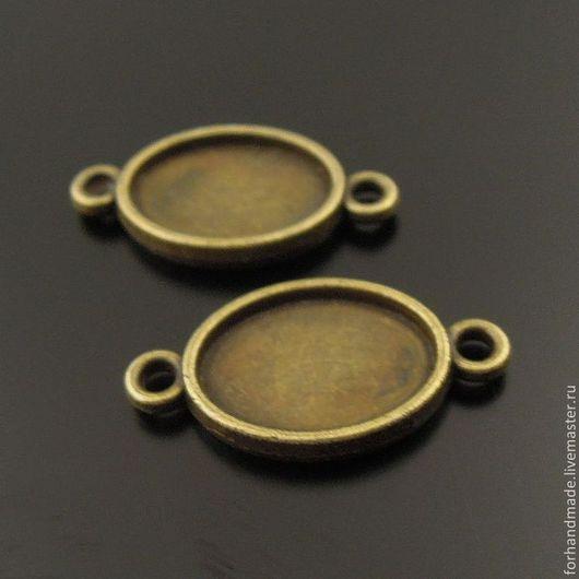 Для украшений ручной работы. Ярмарка Мастеров - ручная работа. Купить Основа - сеттинг с двумя петлями / звено для браслета. Handmade.
