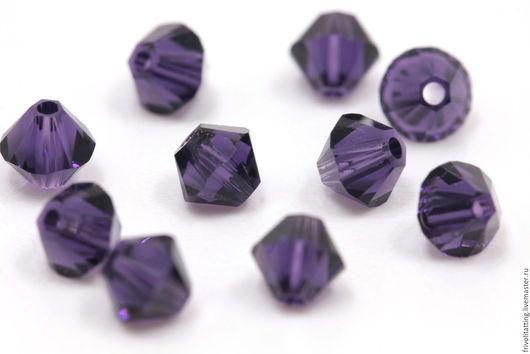 Фриволите. Анкарс. Купить биконусы Сваровски 4 мм Purple Velvet 277 Swarovski, 10 шт.