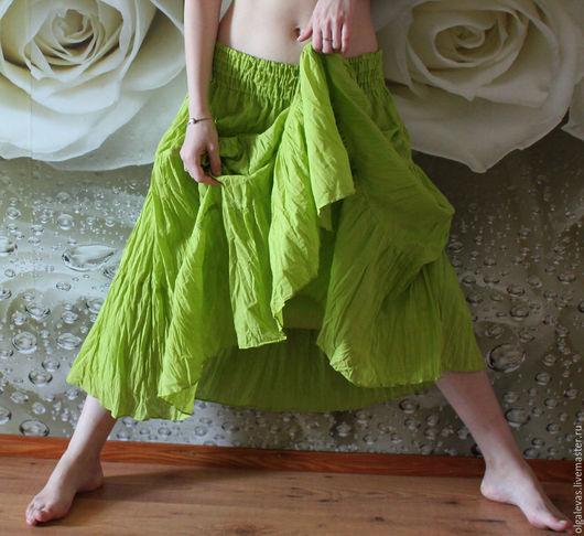 Юбки ручной работы. Ярмарка Мастеров - ручная работа. Купить Юбка летняя длинная.Свежая зелень. Коллекция Акварели. Handmade.
