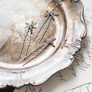 Свадебный салон ручной работы. Ярмарка Мастеров - ручная работа Шпильки звездочки серебреного цвета, шпильки для невесты. Handmade.