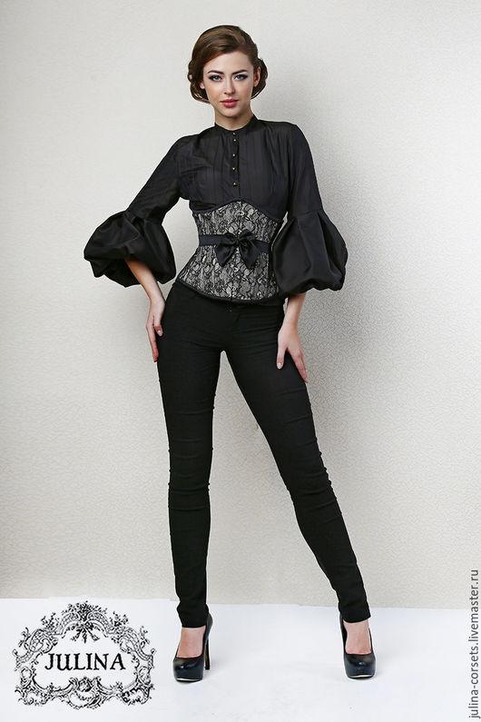 """Блузки ручной работы. Ярмарка Мастеров - ручная работа. Купить Блузка шелковая """"Мелисента"""" черная. Handmade. Черный, шелковая блузка"""