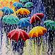 """Люди, ручной работы. Ярмарка Мастеров - ручная работа. Купить Картина """"Веселые зонтики"""". Handmade. Комбинированный, зонт на заказ, дождик"""