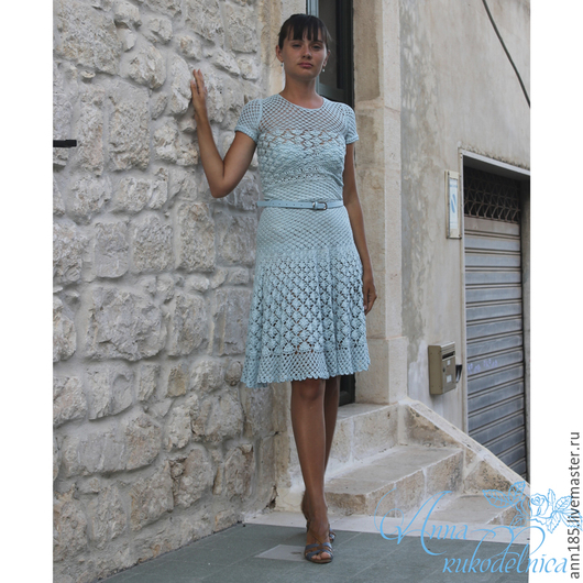 """Платья ручной работы. Ярмарка Мастеров - ручная работа. Купить Платье """"Русалочка"""". Handmade. Голубой, платье крючком, платье коктейльное"""