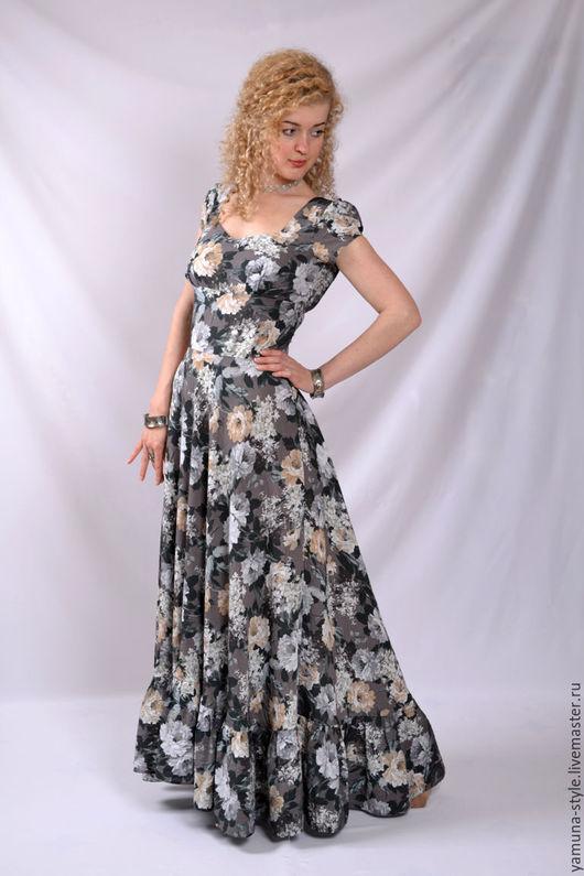 Платья ручной работы. Ярмарка Мастеров - ручная работа. Купить Платье бежевое летнее 70% хлопок.. Handmade. Серый