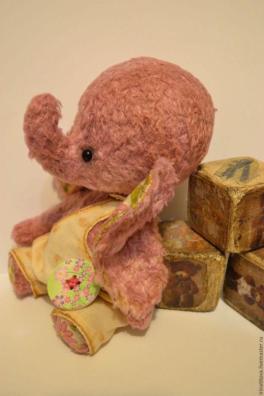 Мишки Тедди ручной работы. Ярмарка Мастеров - ручная работа. Купить Слоник Пуговка. Handmade. Брусничный, слон, ручная работа