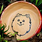 Зоотовары handmade. Livemaster - original item Ceramic Pet Bowl. Pomeranian bowl. Ceramics for animals. Handmade.