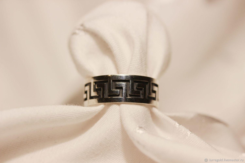 Кольцо с Греческим орнаментом из серебра 925 пробы, Кольца, Москва,  Фото №1