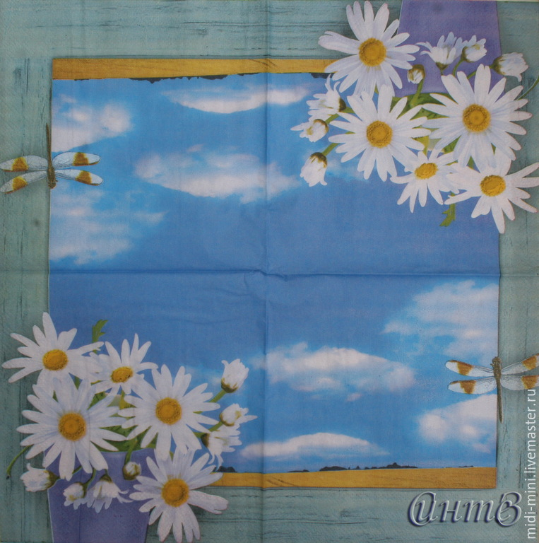 8pcs napkin decoupage daisies flowers sky window dragonfly print, Napkins for decoupage, Moscow,  Фото №1