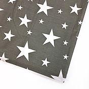 Ткани ручной работы. Ярмарка Мастеров - ручная работа Ткань хлопок Белые звезды серый фон. Сатин. 100% Хлопок. Handmade.
