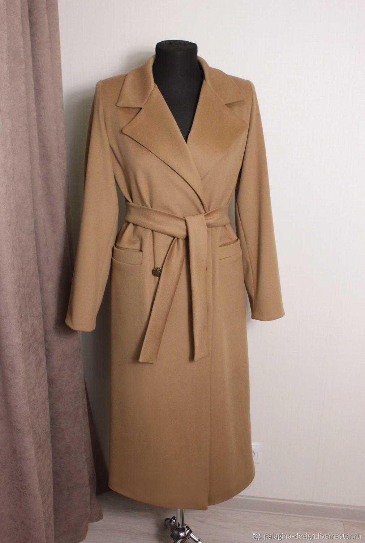 Пальто женское кэмел из кашемира и шерсти в стиле MaxMara, Пальто, Омск,  Фото №1