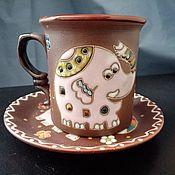 handmade. Livemaster - original item Handmade Ceramic Tea Pair:Pink Elephant. Handmade.