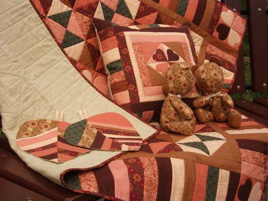 Текстиль, ковры ручной работы. Ярмарка Мастеров - ручная работа. Купить Лоскутный комплект Клевер (Clover). Handmade. Разноцветный, рыжий
